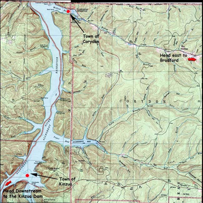 Corydon township and allegheny reservoir for Kinzua dam fishing