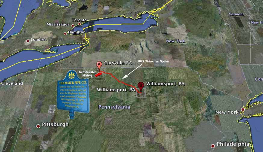 Tidewater Pipe Route - Coryville, PA to Williamsport, PA